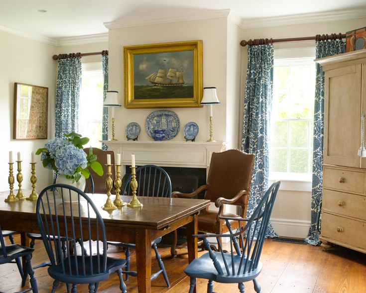 Blue and White Kitchen in a Greek Revival  Beautiful