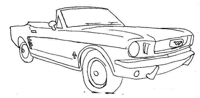Ford Mustang Convertible. Embroidery. Cross stitch. Tattoo