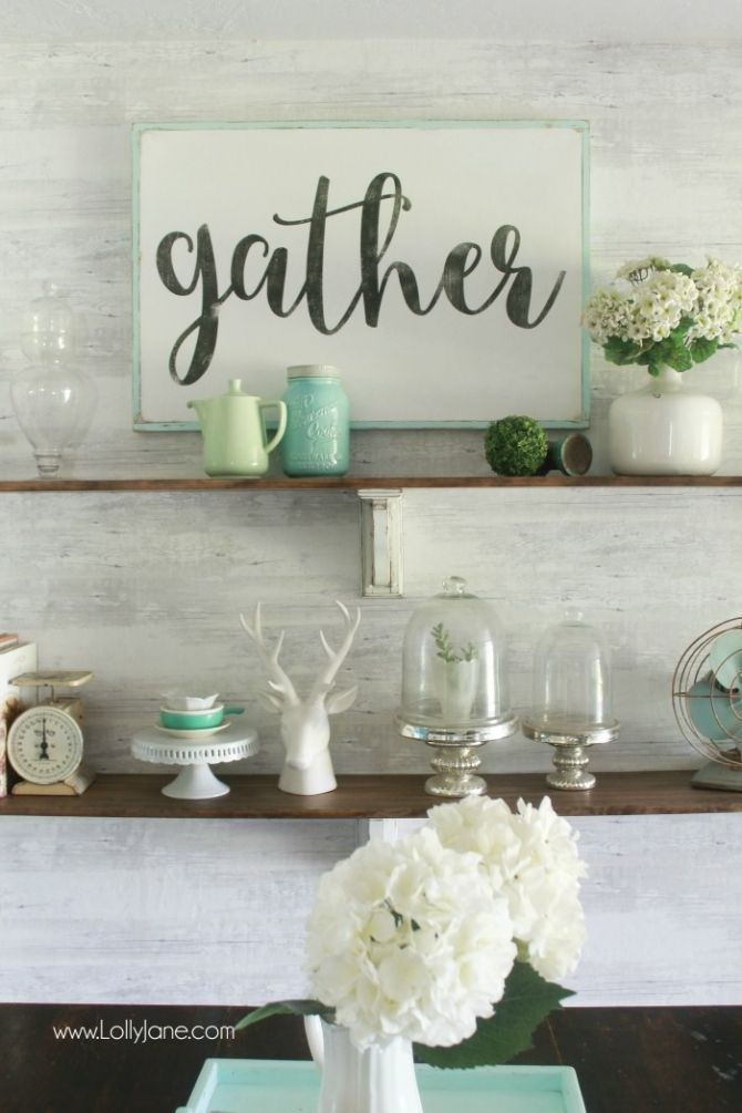 Pretty farmhouse dining room shelves, click through to see how easily the room came together. Step by step how to create this