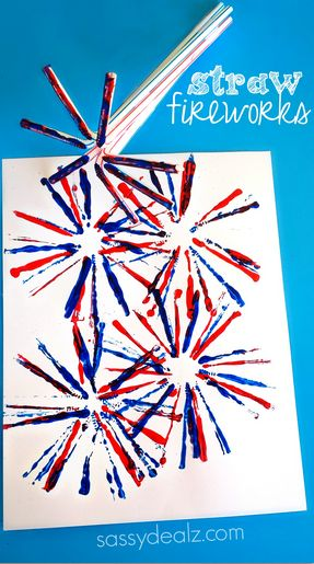 Fireworks Craft for Kids Using Straws – Creative 4th of July craft #MemorialDay