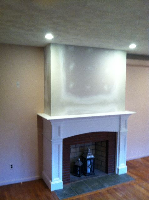 Fireplace Mantel Ideas  cover brick with drywall