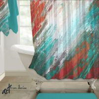 Abstract Shower curtain, Teal aqua coral gray Home decor ...