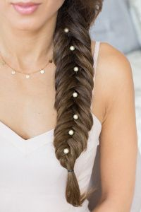 Fishtail Braid with pearl hair accessories. Click to learn ...