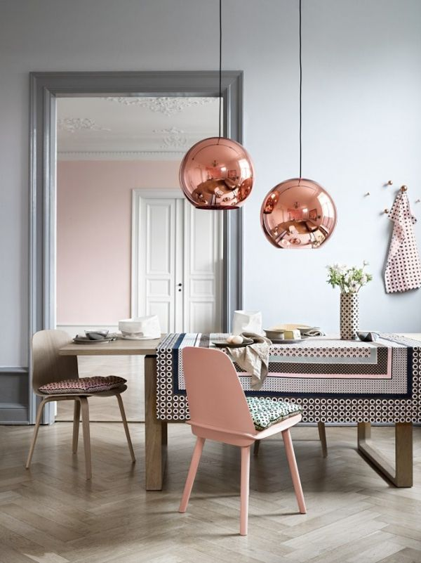 Design Inspiration Rose Gold Grey Dining Room With Copper Pendants