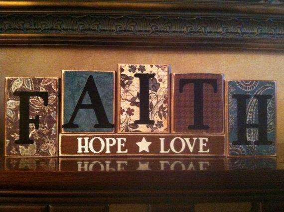 FAITH HOPE LOVE Wood Block Sign Religious Sign Home Decor