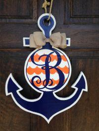 Blue and Orange Anchor Door Hanger | Wooden doors, Door ...