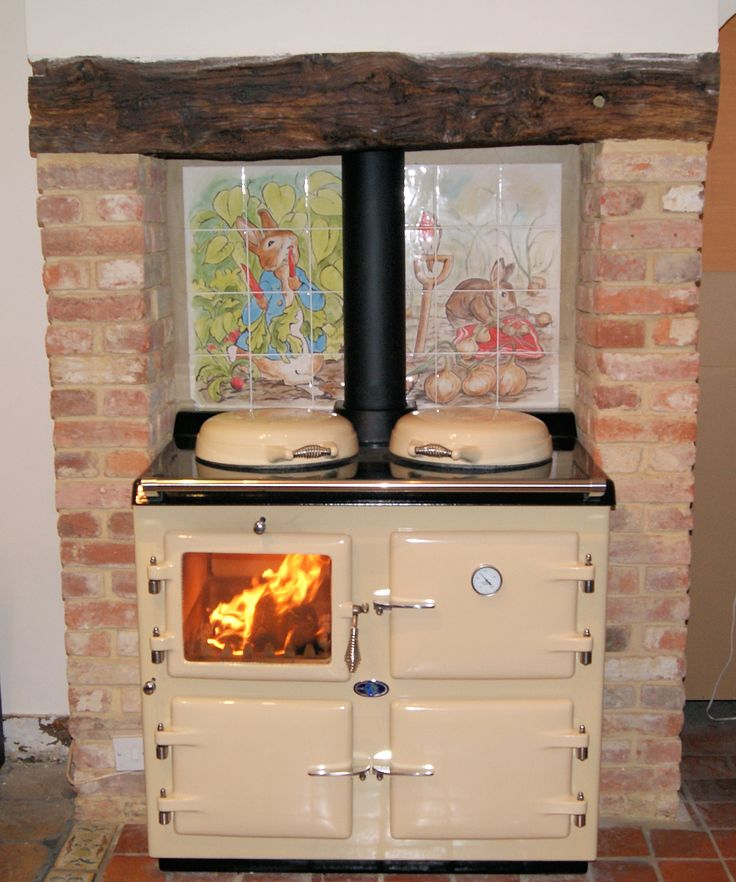 Cream Wood wood fired Burning AGA  Kitchen  cooking