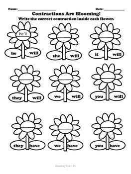 Contractions Are Blooming- a fun worksheet for students to