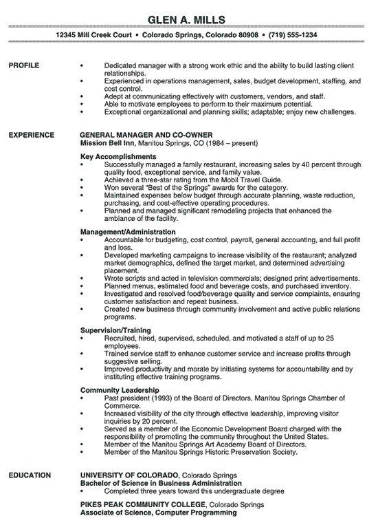 Restaurant Manager Resume Example Professional Resume