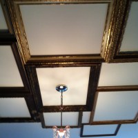 Ceiling idea - old (or new) frames arranged - maybe each ...