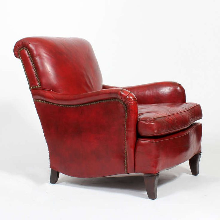 Comfy Vintage Red Leather Club or Armchair 3  English