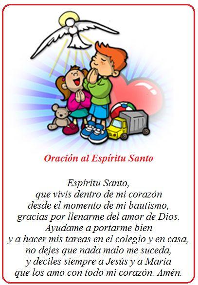 Oración Al Espíritu Santo Para Los Niños  Para Orar Y