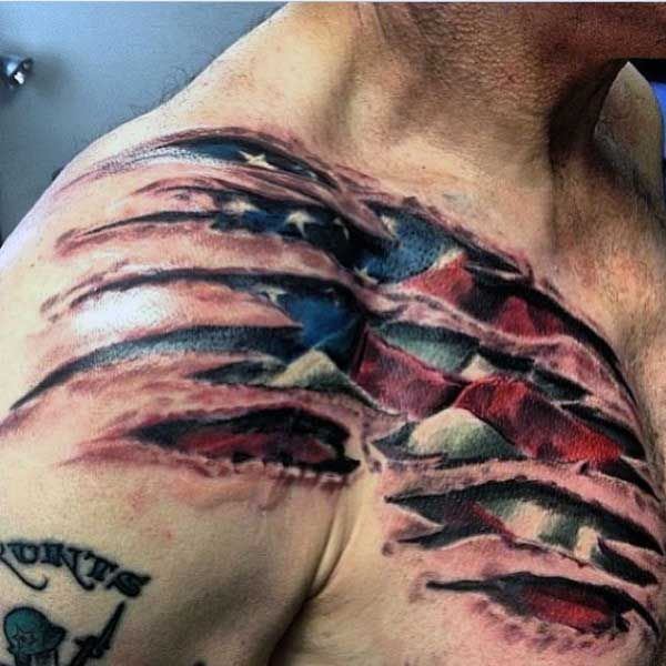 Flag Red Line Torn Thin Tattoo