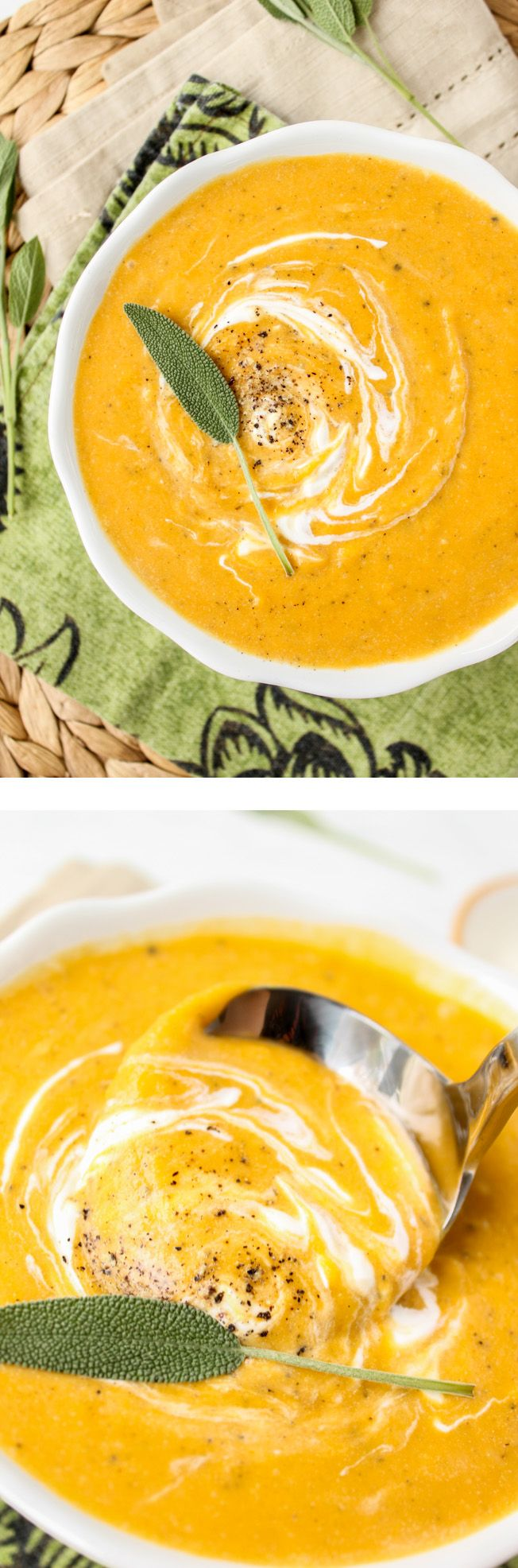 Roasted Butternut Squash Soup from The Food Charlatan // This soup is full of flavor but not calories! Comfort food for a cold