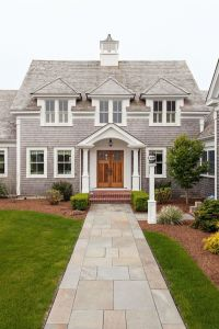 Classic cape cod exterior, double doors, stone walkway ...