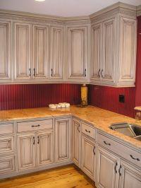 glazed taupe kitchen cabinets