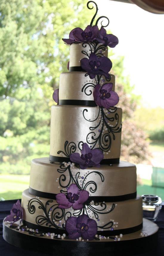 PurpleSilverBlackWeddingCake  CAKE ART  Pinterest  Beautiful Wedding and The purple
