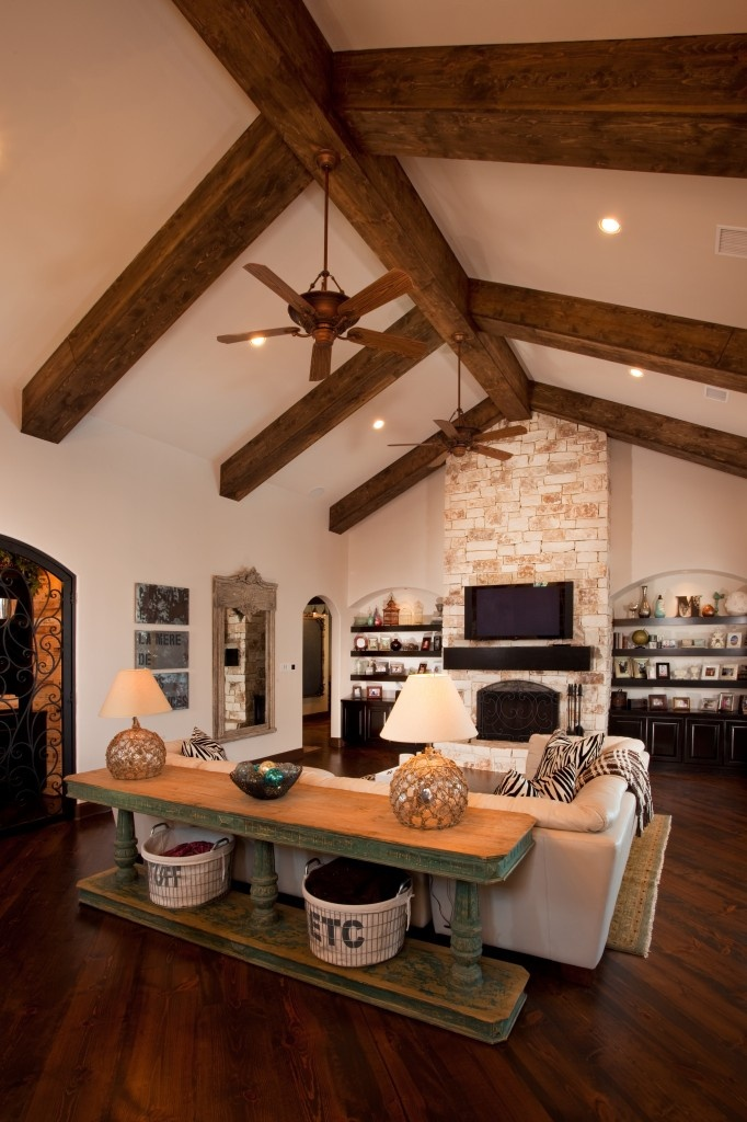 Love The Stained Beams The Floor To Ceiling Fireplace
