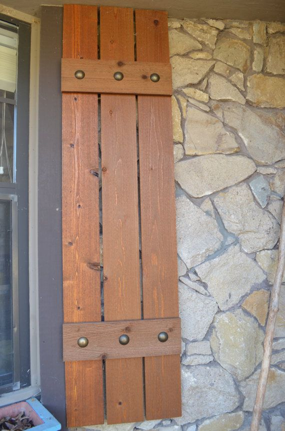Stained cedar shutters exterior shutters Board and by