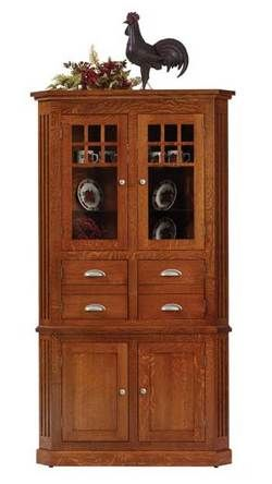 kitchen cabinet stain colors cabinets outlet mission craftsman corner hutch in oak   33% off amish ...