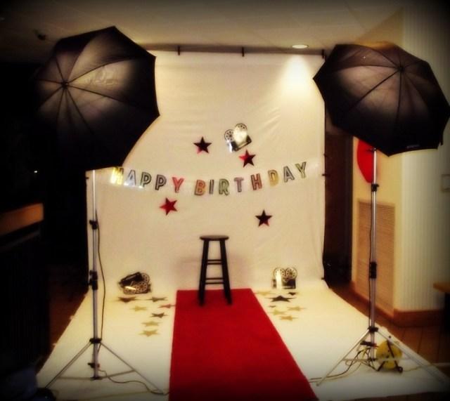 Hollywood theme birthday photo shoot setup hollywood