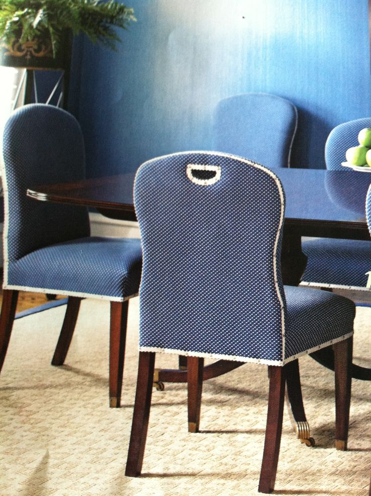 Blue upholstered dining chairs  dining room  Pinterest