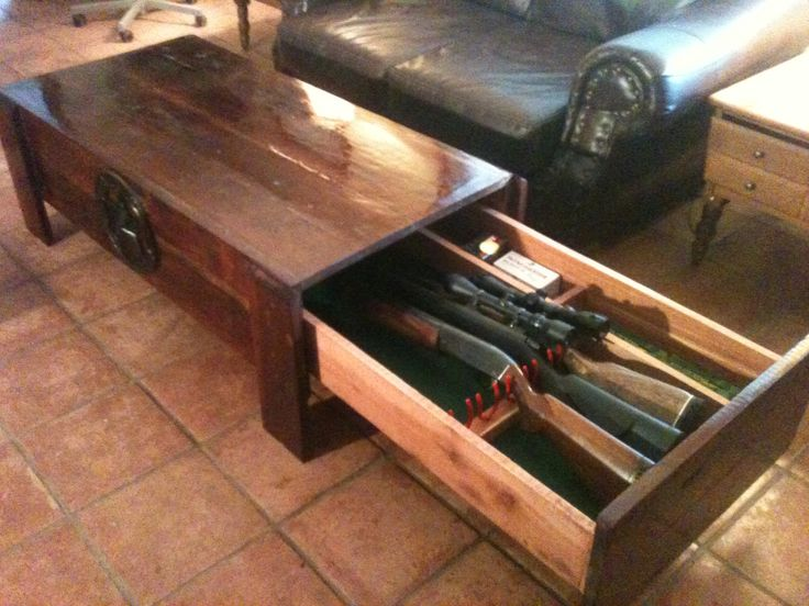 Large Cedar Coffee Table With Hidden Drawer For Firearms