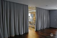 grey, gray, long curtain divider, room separation, yoga