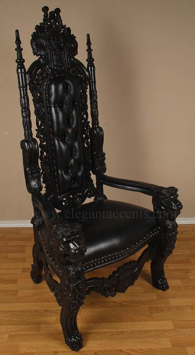 black velvet throne chair van gogh 6' gothic king lion with distressed finish and leather. | chairs ...