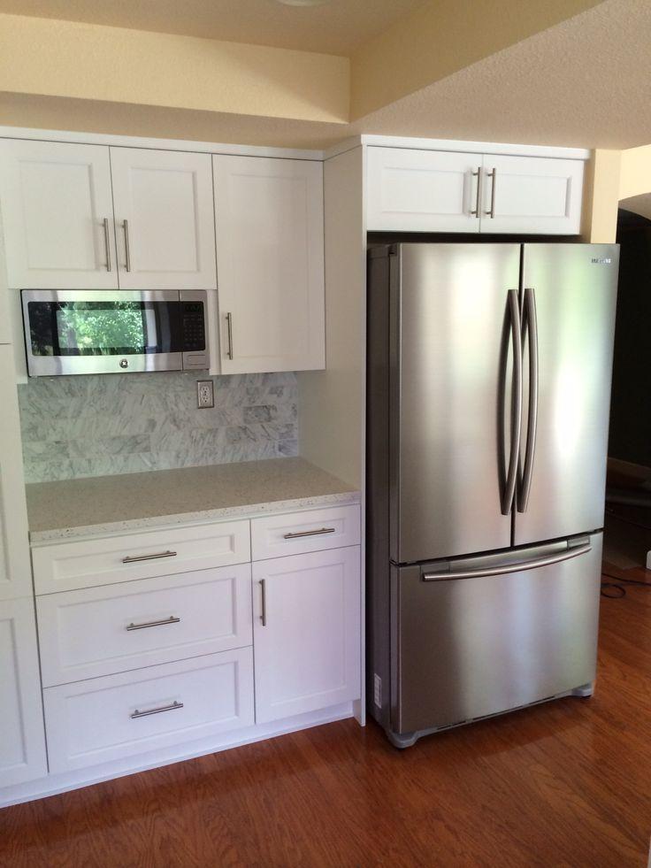 Our kitchen reno Bar pulls white cabinets Carrara