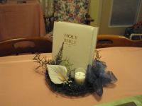 bibles used to make table decorations for bridal shower ...