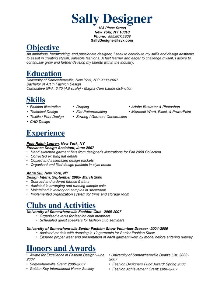 resume objective examples fashion industry resume ixiplay free