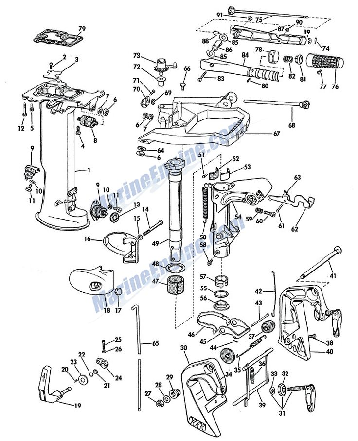 Johnson Lower Unit Group Parts for 1967 6hp CD-24 Outboard
