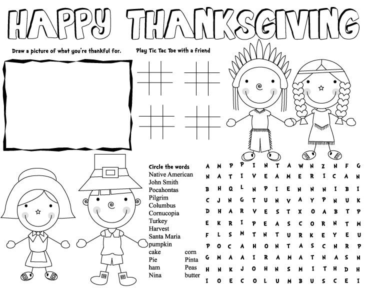THANKSGIVING placemat, thanksgiving activities