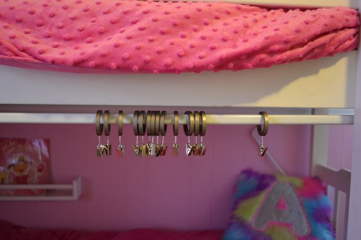 bunkbeds with bottom bunk tent  Mount your tension rod to the bunk bed  Home stufffff