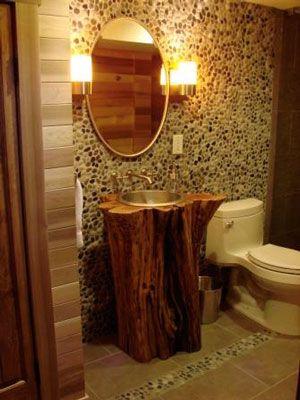 Tree trunk pedestal sink  Mountain Lodge Ideas