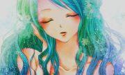 sea mermaid hair teal blue anime