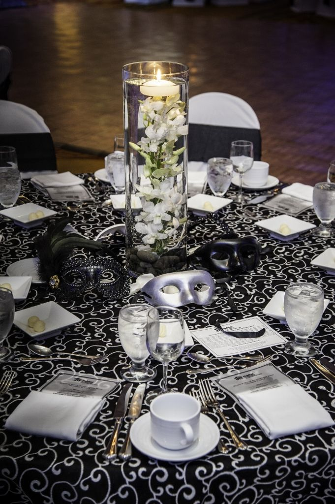 Black  White Masquerade Table Setting Events By Vento Designs We Go Beyond Fundraising