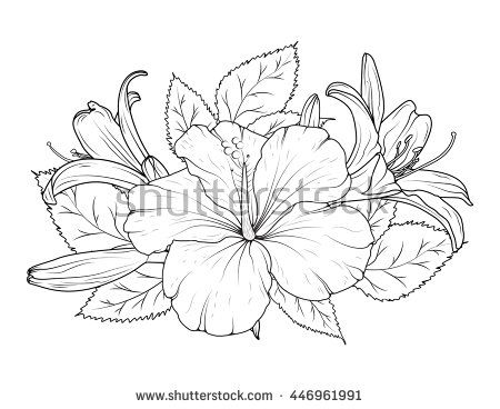 Hibiscus and lily flowers bouquet. Detailed vector drawing