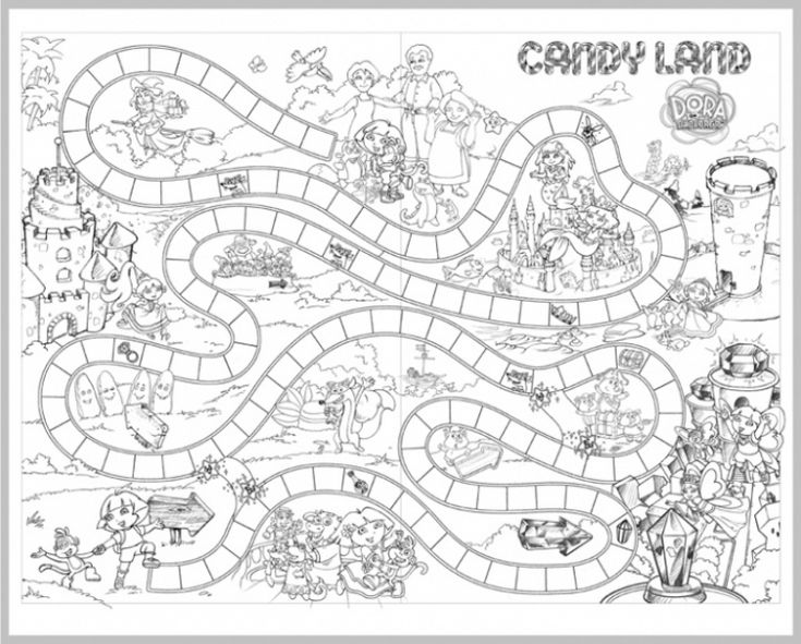 candyland board game coloring page for children  fun