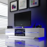 A stunning TV stand with a gloss white  4 Drawers with ...