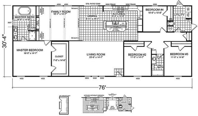 4 Bedrooms 3 Bathrooms Mobile Home Bedroom Double Wide Floor Plans Doublewide Bed 2 Bath House Pinterest