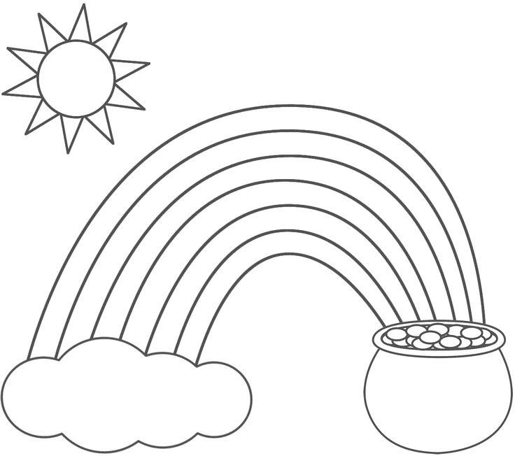 Rainbow Pot Of Gold Sun And Cloud