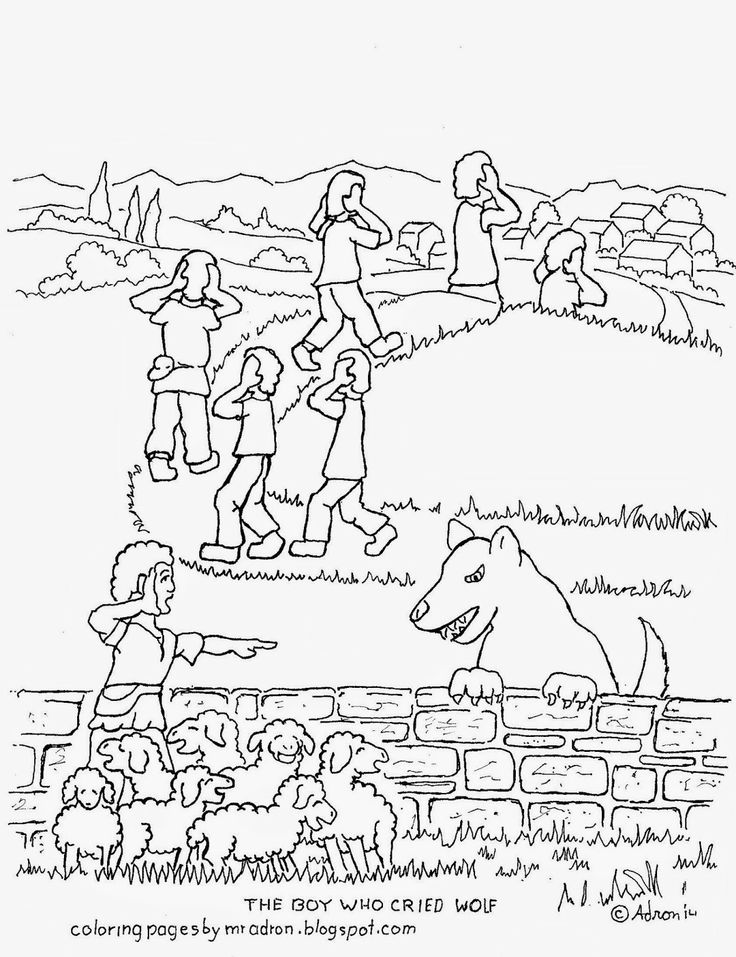 Coloring picture of the boy who cried wolf. see more at my