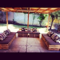 My DIY pallet patio furniture! | Pallot furniture ...