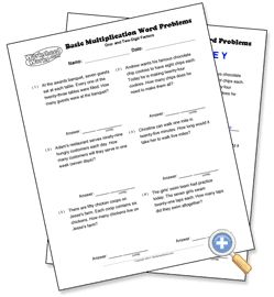Word problems, Multiplication and Math word problems on