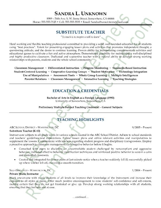 Resume Examples For Substitute Teachers Resume Ixiplay Free