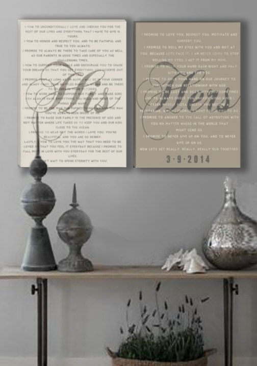 What a great way to display your wedding vows. Then you can always remember the promises you made and live by them! I like the