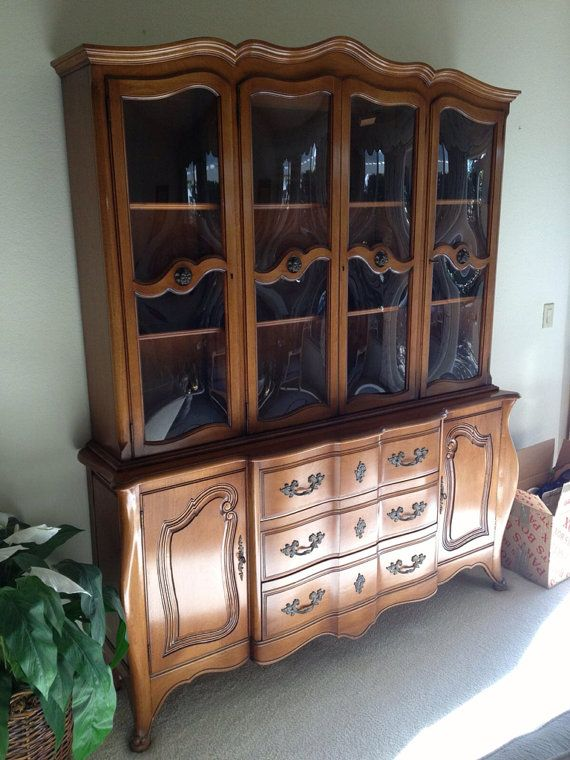Vintage French Provincial Buffet and Hutch  China Cabinet