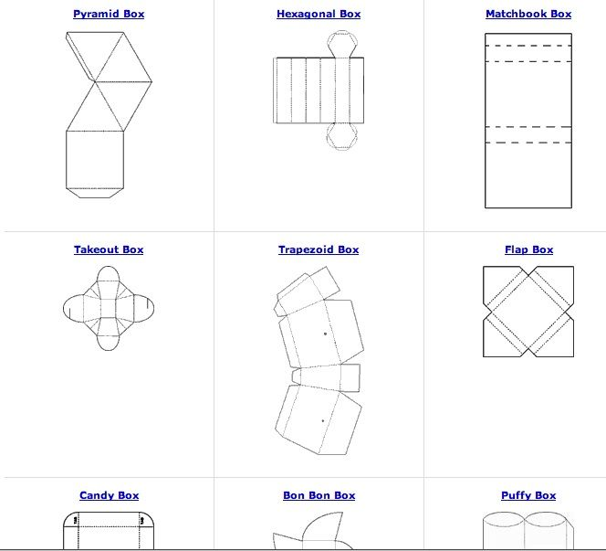 All sorts of free box patterns great for recycling paper